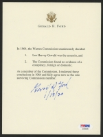 "Gerald Ford Signed Typed Warren Commission Letter Inscribed ""1/13/20"" (PSA LOA)"