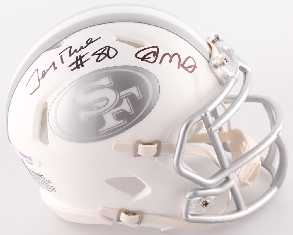 448af1a2e Joe Montana   Jerry Rice Dual Signed 49ers White ICE Mini Helmet (PSA COA