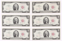 Lot of (6) 1963-A $2 Two Dollar Red Seal U.S. Bank Note Bills with Consecutive Serial Numbers (Choice Crisp Uncirculated) at PristineAuction.com