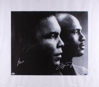 Muhammad Ali & Michael Jordan Signed 27.5x31.5 Photo on Canvas (PSA LOA & UDA)