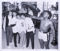"Cassius Clay ""Muhammad Ali"" Signed 21.5x25.75 Photo on Canvas with The Beatles (PSA LOA - Autograph Graded 10)"