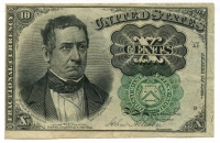 1874 United States 10¢ Ten Cents Fractional Bank Note Bill (High Grade Condition) at PristineAuction.com