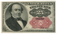 1874 United States 25¢ Twenty Five Cents Fractional Bank Note Bill (High Grade Condition) at PristineAuction.com