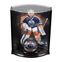 Grant Fuhr Signed Edmonton Oilers Acrylic Hockey Puck with Limited Edition Goaltender Curve Display Case (UDA COA)