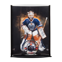 Grant Fuhr Signed Edmonton Oilers Acrylic Hockey Puck with Limited Edition Goaltender Curve Display Case (UDA COA) at PristineAuction.com