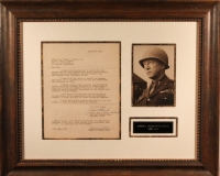 General George S. Patton Signed 21x25 Custom Framed Letter Display (PSA LOA)