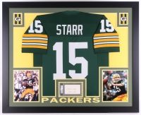 "Bart Starr Signed Packers 35"" x 43"" Custom Framed Display with Jersey & Signed Index Card Inscribed ""Best Wishes"" (PSA Authentic)"