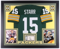 "Bart Starr Signed Packers 35"" x 43"" Custom Framed Display with Jersey & Signed Index Card (PSA Authentic)"
