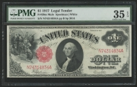 1917 $1 One Dollar Mule Legal Tender Large Size Bank Note Bill (PMG 35) (EPQ)