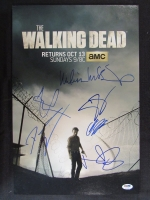"""The Walking Dead"" 12x18 Photo Signed by (6) with Norman Reedus, Steven Yeun, Andrew Lincoln, Melissa McBride, Chandler Riggs & Danai Gurira (PSA LOA)"