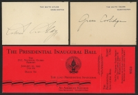 """Lot of (3) Presidential Items With 1993 Presidential Inaugural Ball Ticket & (2) 2.5"""" x 4"""" Cuts Signed by Grace Coolidge & Calvin Coolidge (PSA LOA)"""