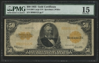 1922 $50 Fifty Dollars U.S. Gold Certificate Large Size Bank Note Bill (PMG 15)
