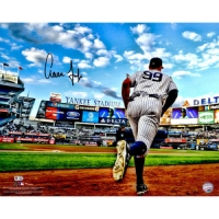 """Aaron Judge Signed Yankees """"Running out of the Dugout"""" 16x20 Photo (Fanatics Hologram & MLB Hologram) at PristineAuction.com"""
