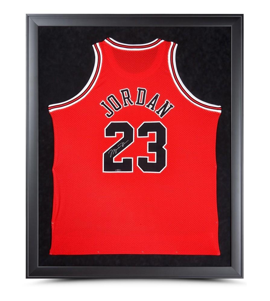 Michael Jordan Signed Bulls 32x42 Custom Framed Jersey (UDA) at PristineAuction.com