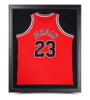Michael Jordan Signed Chicago Bulls 32x42 Custom Framed Jersey (UDA COA)