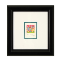 """Peter Max Signed """"Cosmic Flyer"""" Limited Edition 10x10 Custom Framed Lithograph #453/500"""