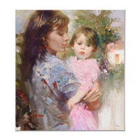 """Pino Signed """"Little Cherub"""" Artist Embellished Limited Edition 20x22 Giclee on Canvas #28/95"""