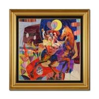 "Tadeo Signed ""Viajando A Ninguna Parte"" 34x34 Custom Framed Original Oil Painting on Canvas"