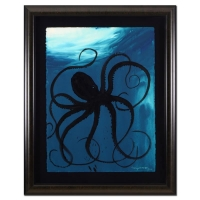 "Wyland Signed ""Octopus"" 32x29 Custom Framed Original Watercolor Painting"