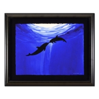 "Wyland Signed ""Two Dolphins"" 32x39 Custom Framed Original Watercolor Painting at PristineAuction.com"