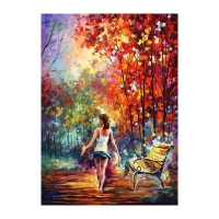 """Leonid Afremov Signed """"Barefooted Stroll"""" 40x54 Original Oil Painting on Canvas"""