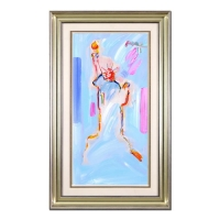 """Peter Max Signed """"Statue of Liberty 2000 II"""" 28x46 Custom Framed One-of-a-Kind Acrylic Mixed Media"""
