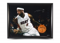 LeBron James Signed Heat 35x47 Custom Framed Limited Edition Photo (UDA COA) at PristineAuction.com