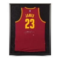 LeBron James Signed Cleveland Cavaliers 32x38 Custom Framed Jersey (UDA COA)