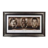 "Wayne Gretzky, Michael Jordan & Tom Brady Signed ""Faces of Sports"" 34x58 Custom Framed Limited Edition Photo (UDA COA)"