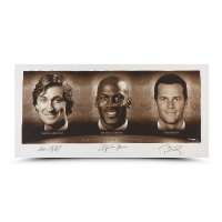 "Wayne Gretzky, Michael Jordan & Tom Brady Signed ""Faces of Sports"" 24x48 Limited Edition Photo (UDA)"