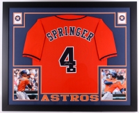 "George Springer Signed Astros 35"" x 43"" Custom Framed Jersey (JSA COA)"