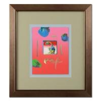"Peter Max ""Umbrella Man"" Signed 8.5"" x 11"" Original Acrylic Mixed Media Painting 1/1 (Custom Framed to 19"" x 22"") (Max LOA)"