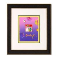 "Peter Max ""Umbrella Man"" Signed 8.5"" x 11"" Original Acrylic Mixed Media Painting 1/1 (Custom Framed to 20"" x 23"") (Max LOA)"