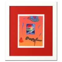 """Peter Max """"Without Borders"""" Signed 8.5"""" x 11"""" Original Acrylic Mixed Media Painting 1/1 (Custom Framed to 19"""" x 21.5"""") (Max LOA)"""