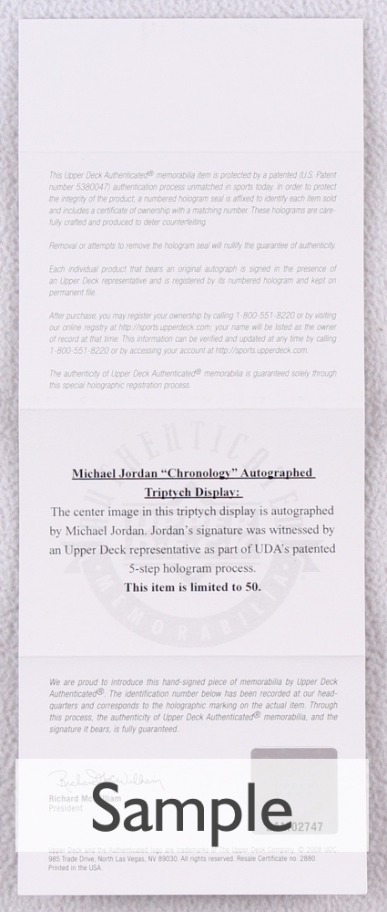 d452c88bb53 Michael Jordan Signed LE Bulls 48x24 Triptych Chronology 3-Piece Canvas  (UDA COA)