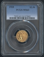 1928 $2.50 Indian Head Quarter Eagle Gold Coin (PCGS MS 63)
