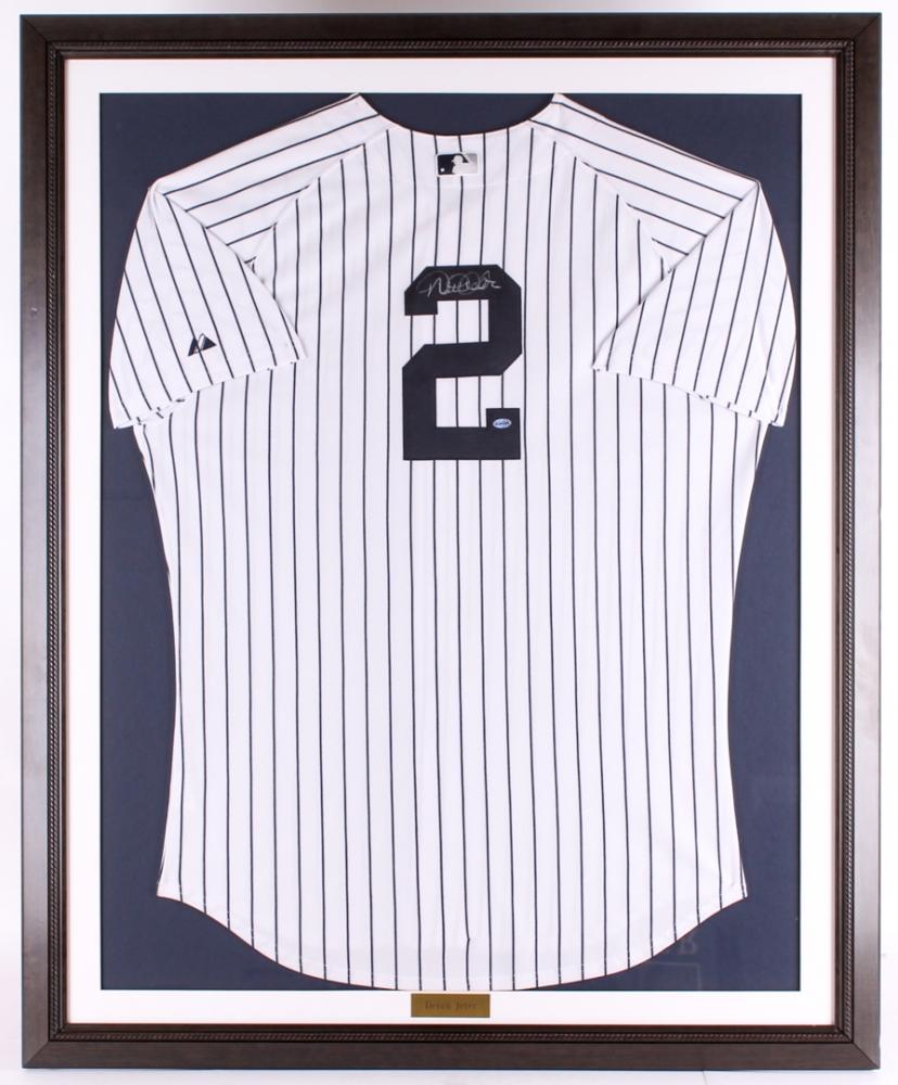 Derek Jeter Signed 35 5x43 5 Yankees Custom Framed Jersey