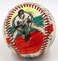 LeRoy Neiman Signed Hand-Painted Derek Jeter OAL Baseball (JSA & PSA LOA)