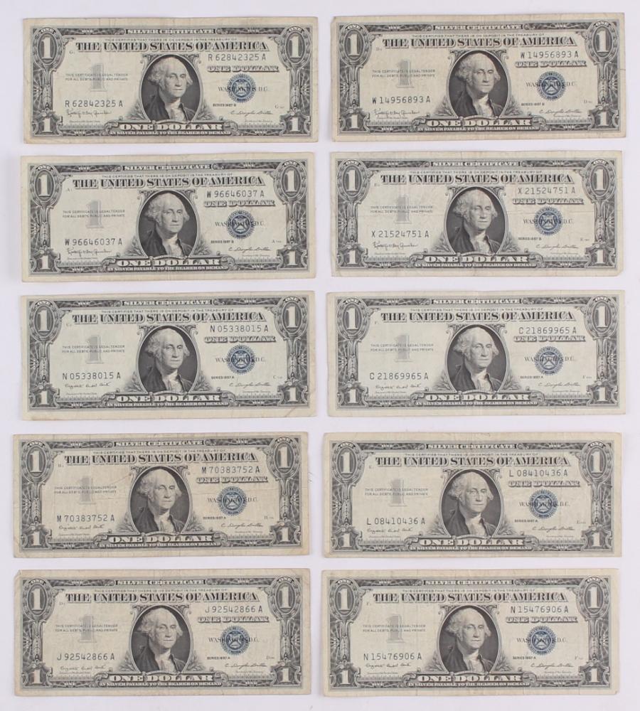 Online sports memorabilia auction pristine auction lot of 10 1957 1 one dollar blue seal silver certificates at pristineauction xflitez Images