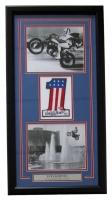 Evel Knievel Signed 17x32 Custom Framed Number Display (PSA COA)
