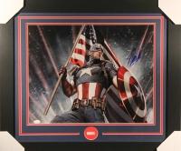 """Stan Lee Signed Marvel """"Captain America"""" 23x27 Custom Framed Photo (JSA Hologram)"""