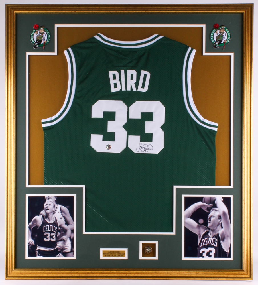 0d21385dd82 Larry Bird Signed Celtics 34.5x39 Custom Framed Jersey Display (Bird  Hologram)