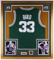 Larry Bird Signed Celtics 34.5x39 Custom Framed Jersey Display (Bird Hologram)