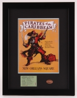 "Vintage Disneyland ""Pirates of the Caribbean"" 14x18 Custom Framed Park Guide Display with Vintage Ticket & Penny"