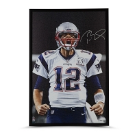 "Tom Brady Signed New England Patriots ""Up Close"" 24x36 Custom Framed Photo on Canvas (UDA COA)"