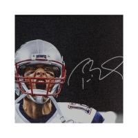 "Tom Brady Signed New England Patriots ""Up Close"" 24x36 Custom Framed Photo on Canvas (UDA COA) at PristineAuction.com"