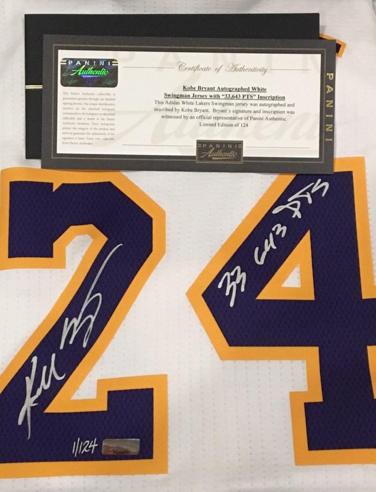 41ca6a288e8 Kobe Bryant Signed Limited Edition Lakers Adidas Authentic Swingman Jersey  Inscribed