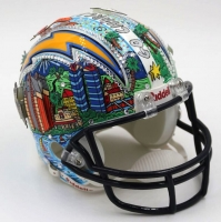 Charles Fazzino San Diego Chargers Hand-Painted 3D Art Mini Helmet with Swarovski Crystals (PA LOA)