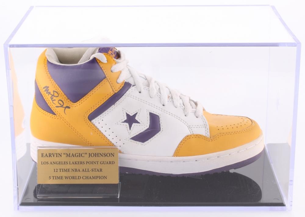 Magic Johnson Signed Throwback Converse Basketball Shoe with Display Case  (PSA COA) 1299a4713