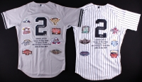 Derek Jeter Signed lot of (2) LE Yankees Career Highlight Stat Home & Road Jerseys (Steiner COA & MLB Hologram)